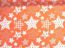 Stermotief katoen Oranje/wit 5649-36N
