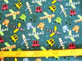 5a Kinderkatoen Donkerblauw met auto en vliegtuig 3202-08N