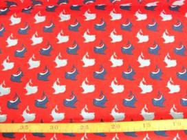 Kinderkatoen Rood met grijs/donkerblauwe Dolfijn 3204-15N