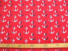 Kinderkatoen Rood met blauw/wit/grijze ankers 3205-15N