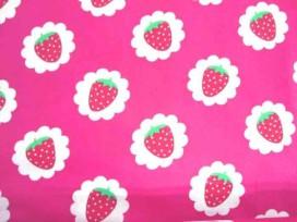 Dapper poplin katoen Pink met aardbei in wolkje 2481-17N