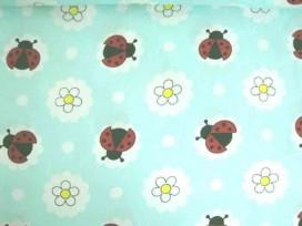 Dapper poplin katoen Mint met lieveheersbeestje in wolk 2480-22N