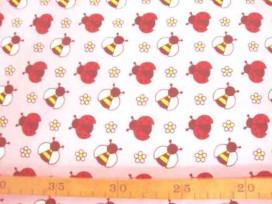 6n Dapper poplin Roze met wesp en lieveheersbeest 2479-12N