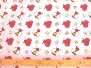 Dapper poplin katoen Roze met wesp en lieveheersbeest 2479-12N