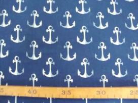 Kinderkatoen Donkerblauw met wit/grijze ankers 3205-08N