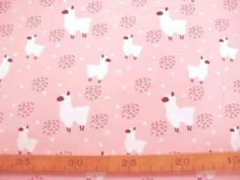 Een oudroze tricot met een witte alpaca. Rekt in de breedte en in de lengte. 95% katoen/5% elastan  1.50 mtr. breed