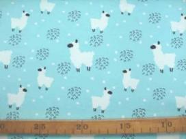 Een mintgroene tricot met een witte alpaca. Rekt in de breedte en in de lengte.   95% katoen/5% elastan 1.50 mtr.breed