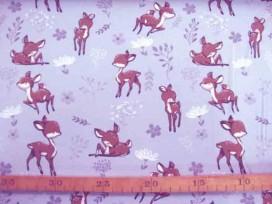 Een lichtgrijze tricot met hertjes Rekt in de breedte en in de lengte. 95% katoen/5% elastan.  1.50 mtr.breed