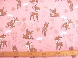 Een oudroze tricot met hertjes Rekt in de breedte en in de lengte. 95% katoen/5% elastan  1.50 mtr.breed