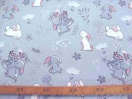 Oeko-Tex Kindertricot Lichtgrijs met konijntjes 3690-62N