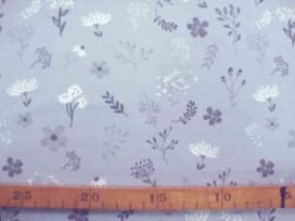 5k Oeko-Tex Kindertricot Lichtgrijs met bloemprint 3693-62N