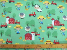 5o Oeko-Tex Kindertricot Limegroen Boerderij print 4714-23N