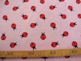 Oekotex Kinder tricot Oudroze met lieveheersbeestjes 3663-13N