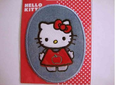 5c Hello Kitty Ovaal Jeans Rood appel jurkje en strik 102