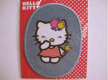 5e Hello Kitty Ovaal Jeans Staand met roze jurk 104