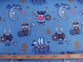 Oeko-Tex kindertricot Jeansblauw met viking 4709-04N