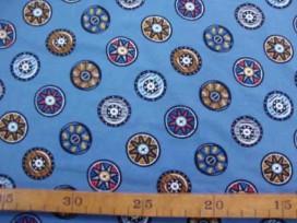 Oeko Tex kindertricot Jeansblauw met vikingschild 4708-04N