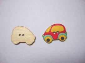 Houten knoop gekleurd Auto Rood