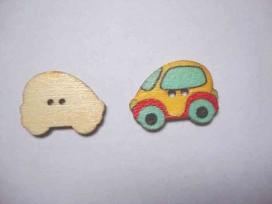 5c Houten knoop gekleurd Auto Geel
