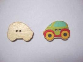 Houten knoop gekleurd Auto Limegroen