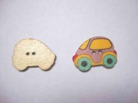 Houten knoop gekleurd Auto Lila