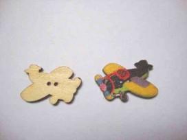 Houten knoop gekleurd Vliegtuig Geel