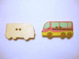 Houten knoop gekleurd Bus Roze