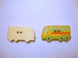 Houten knoop gekleurd Bus Geel