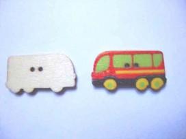 Houten knoop gekleurd Bus Rood