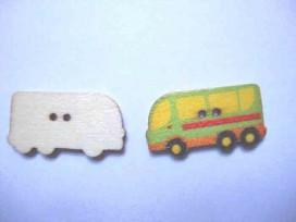 Houten knoop gekleurd Bus Groen