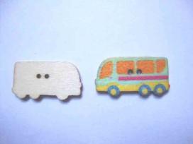 5e Houten knoop gekleurd Bus Lichtblauw