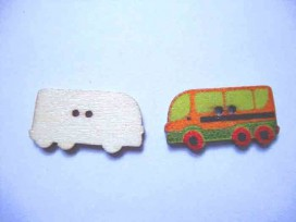 5f Houten knoop gekleurd Bus Brique