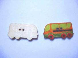 Houten knoop gekleurd Bus Brique