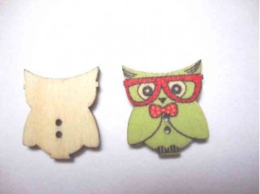 Houten knoop gekleurd Uil Lime/rood