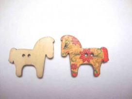 Houten knoop gekleurd Paard P1
