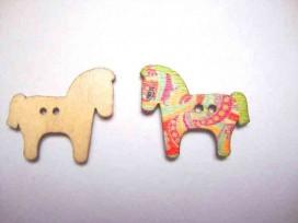 Houten knoop gekleurd Paard P2
