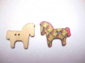 Houten knoop gekleurd Paard P3