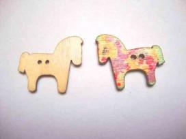 Houten knoop gekleurd Paard P7