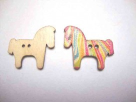 Houten knoop gekleurd Paard P8