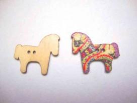 Houten knoop gekleurd Paard P13