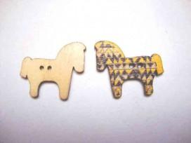 Houten knoop gekleurd Paard P18