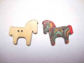 Houten knoop gekleurd Paard P21