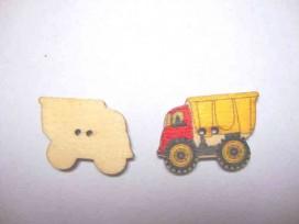 5a Houten knoop gekleurd Vrachtwagen Geel/rood
