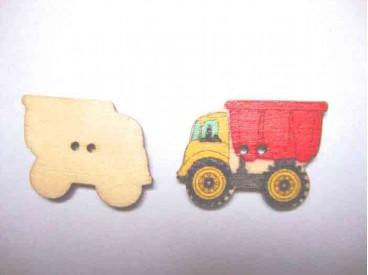 Houten knoop gekleurd Vrachtwagen Rood
