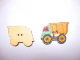 Houten knoop gekleurd Vrachtwagen Geel