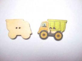 Houten knoop gekleurd Vrachtwagen Lime