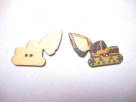 5b Houten knoop gekleurd Graafmachine Geel