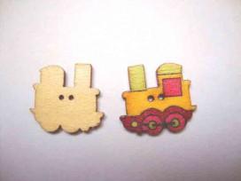 5a Houten knoop gekleurd Trein Geel