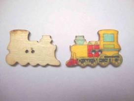 Houten knoop gekleurd Locomotief Geel