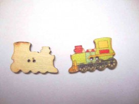 Houten knoop gekleurd Locomotief Groen